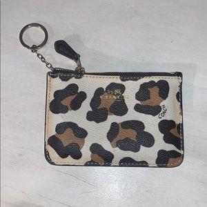 Coach leopard keychain wallet